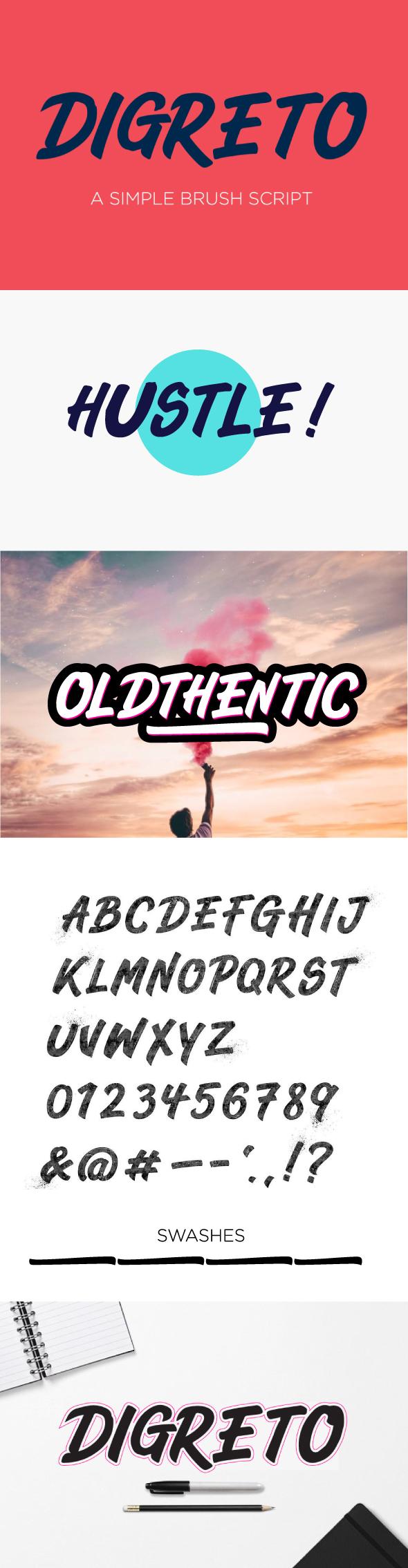 Digreto Capitals Font - Hand-writing Script