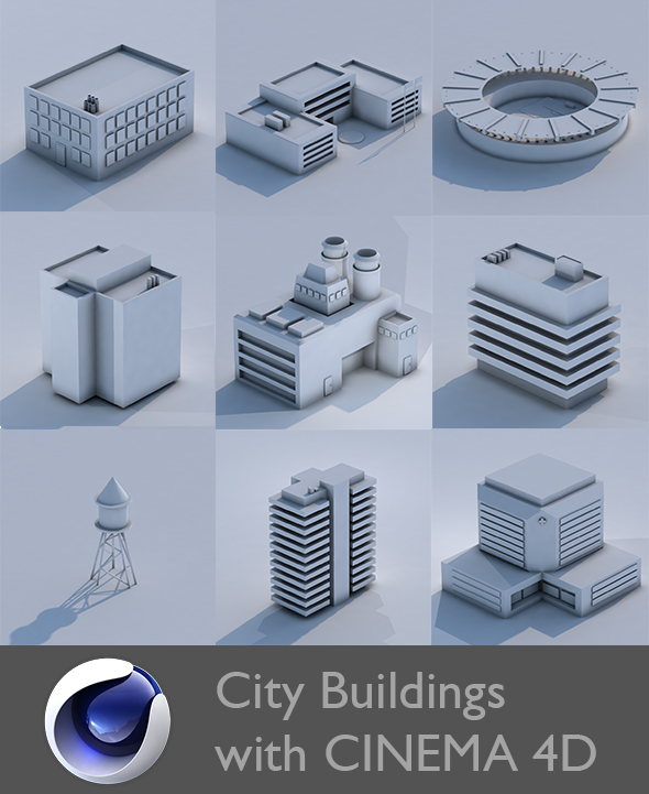 Low Poly City Building Collection - 3DOcean Item for Sale