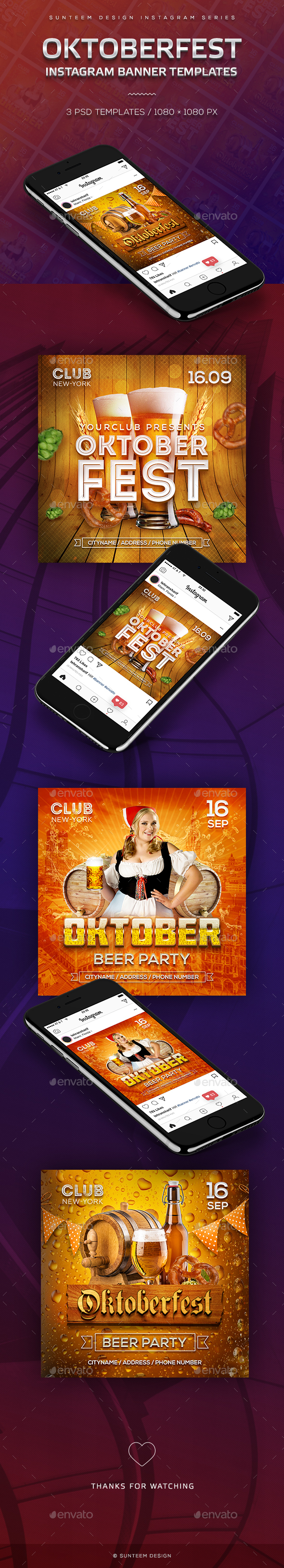 Oktoberfest Beer Party 3 Instagram Banner Templates - Banners & Ads Web Elements
