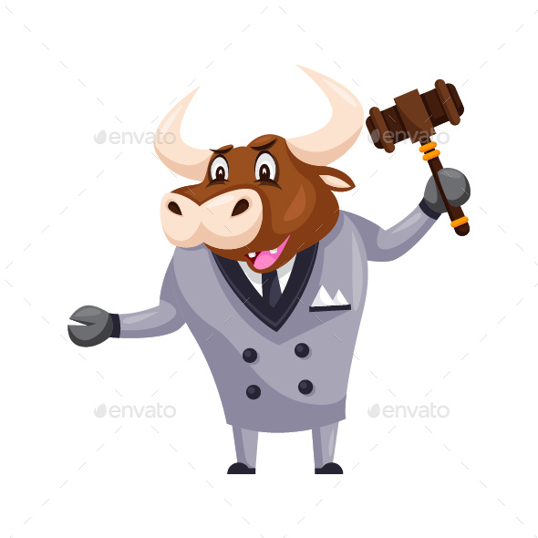 GraphicRiver Auction Bull Cartoon Character 20585025