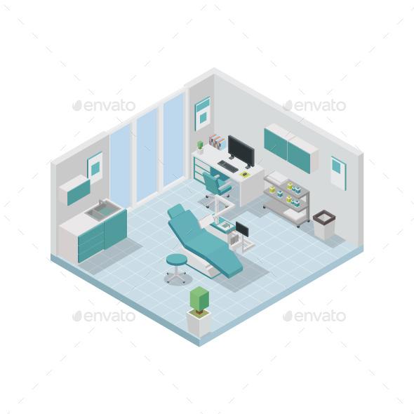 GraphicRiver Modern Isometric Dentist Clinic Interior Design 20585146