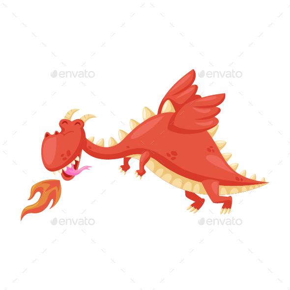 GraphicRiver Flying Red Dragon Illustration 20585166