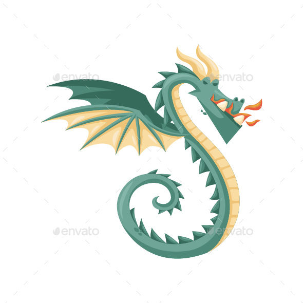 GraphicRiver Green Flying Dragon Illustration 20585171