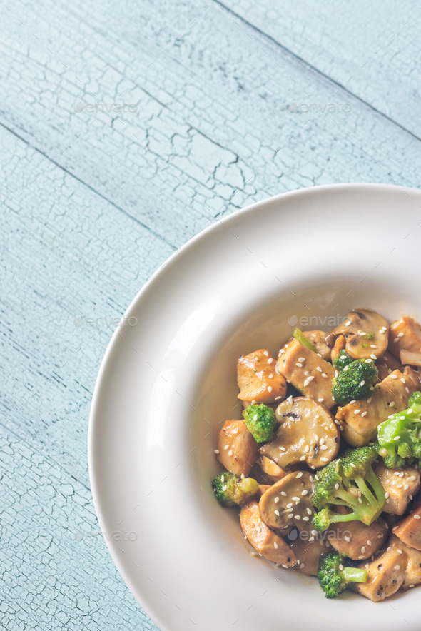 Chicken and Broccoli Stir Fry - Stock Photo - Images