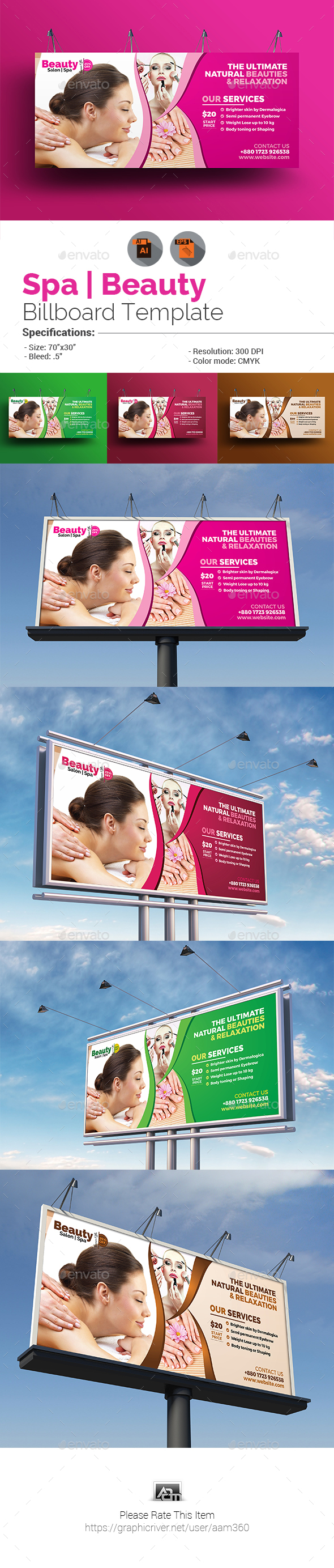GraphicRiver Spa & Beauty Saloon Billboard Template 20585791