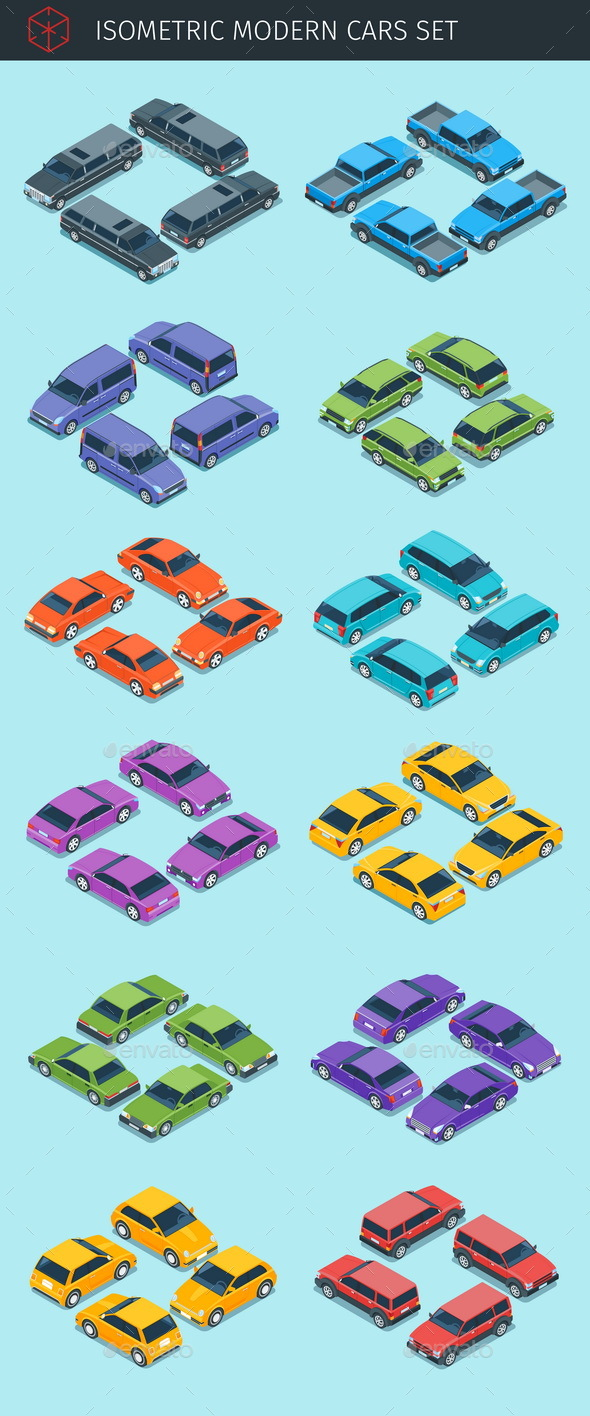 Isometric Cars Collection - Man-made Objects Objects