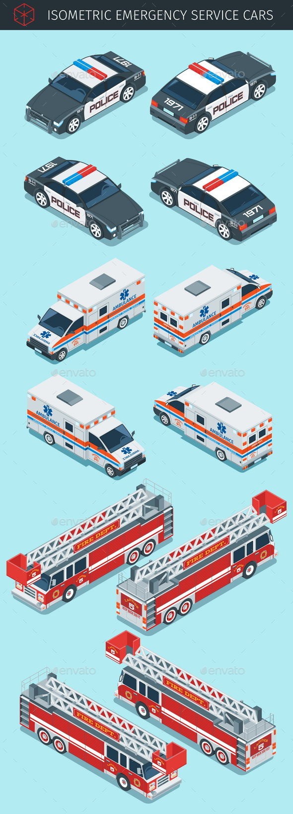 Isometric Emergency Service Cars - Man-made Objects Objects