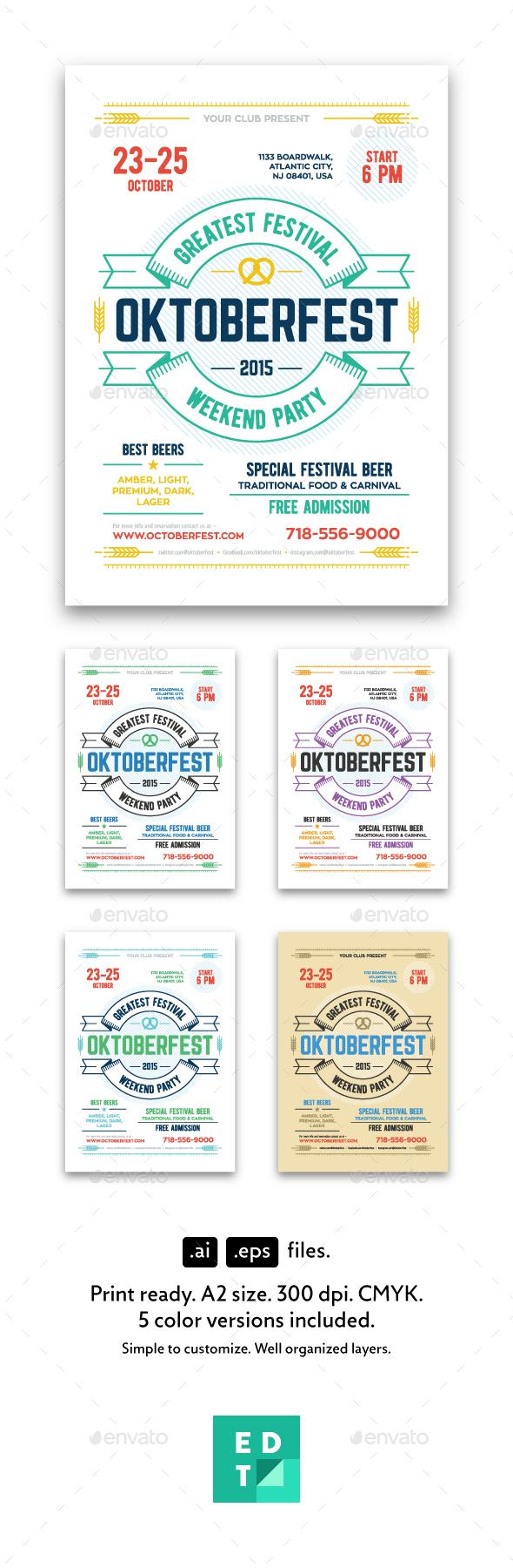 Oktoberfest Festival Poster Template - Holidays Events