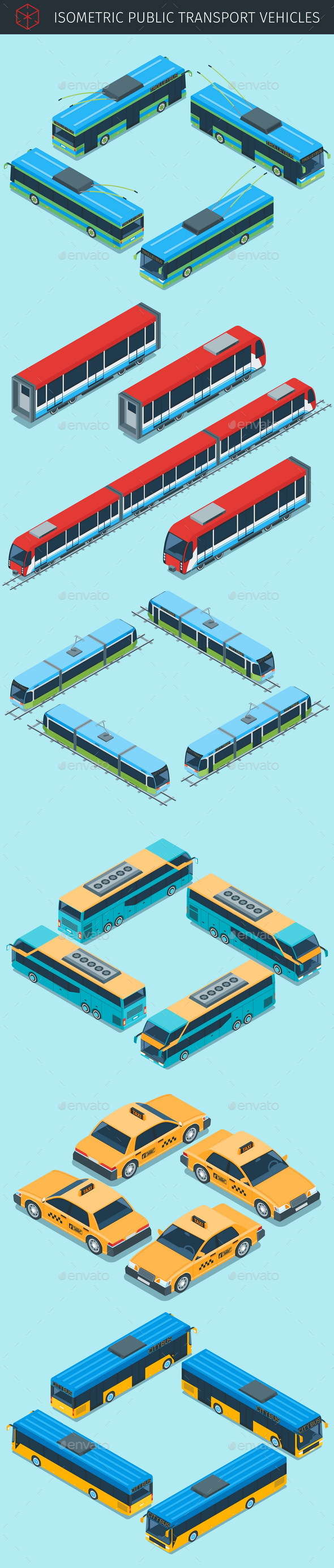 Isometric Public Transport Vehicles - Man-made Objects Objects