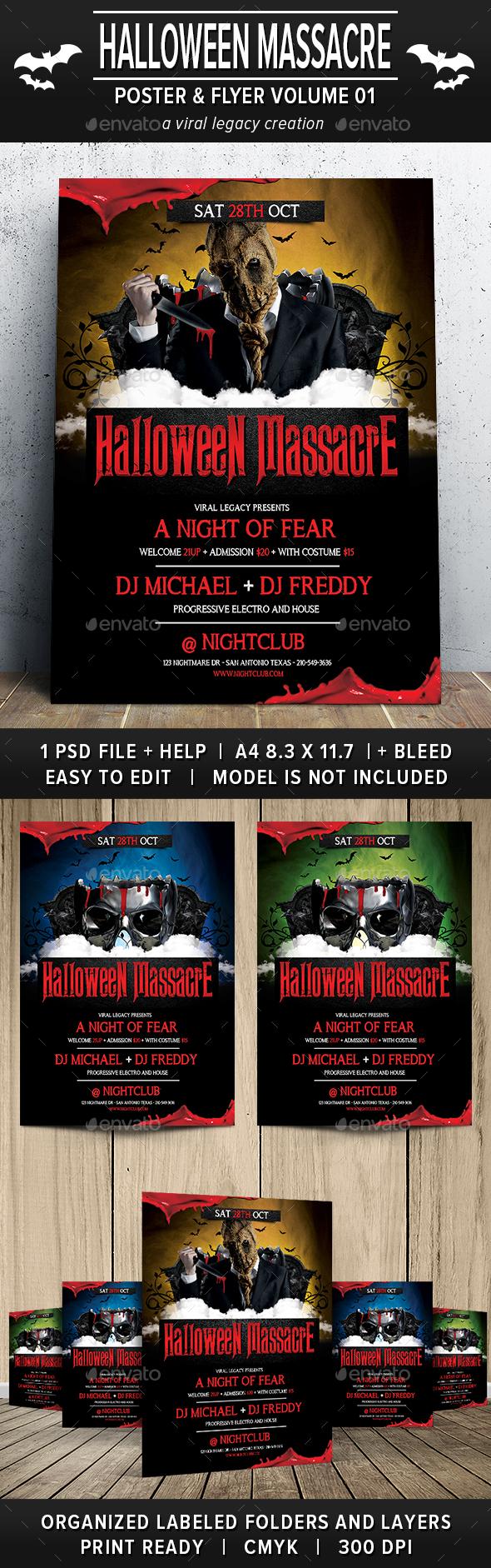 Halloween Massacre Poster / Flyer V01 - Print Templates