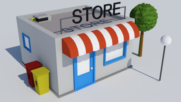 Low poly building - Store - 3DOcean Item for Sale