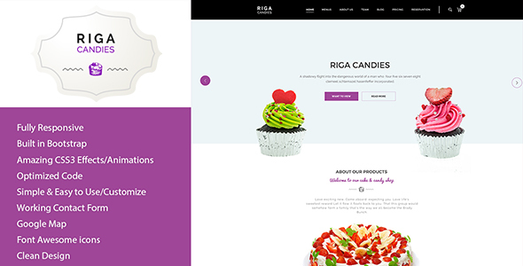 ThemeForest Riga Candy & Sweets HTML Template 20586036