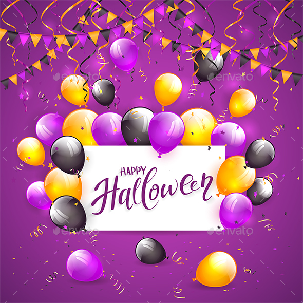 GraphicRiver Halloween Balloons and Confetti on Violet Background 20586091