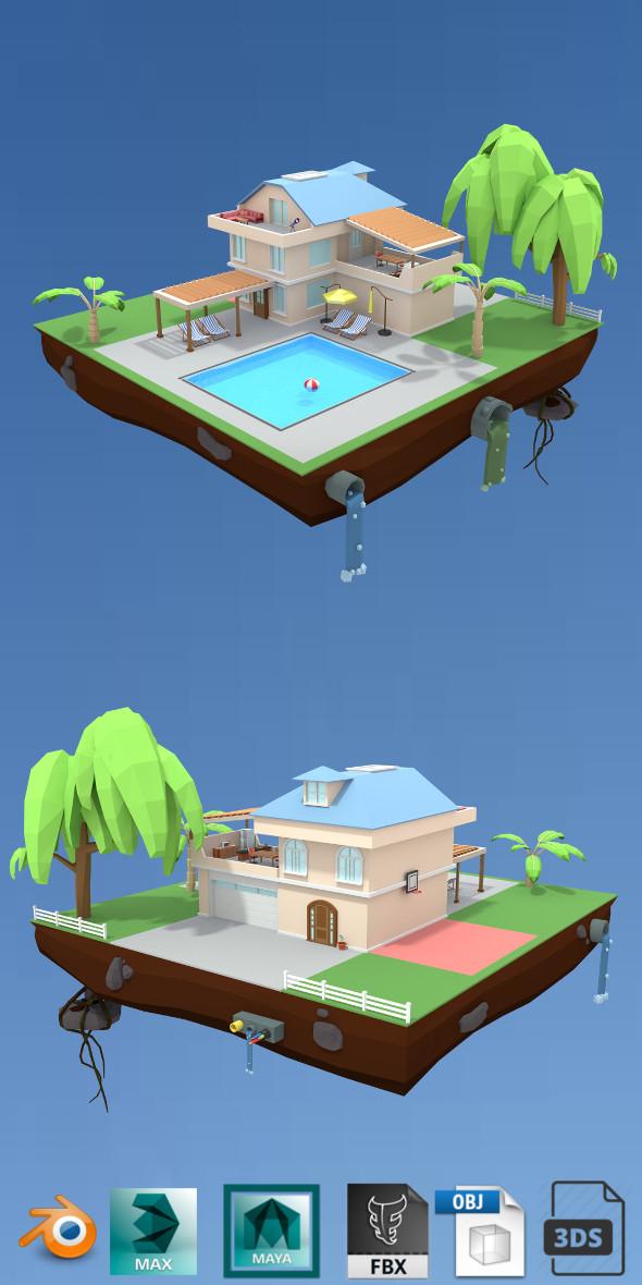 3DOcean pool house low poly 20586173