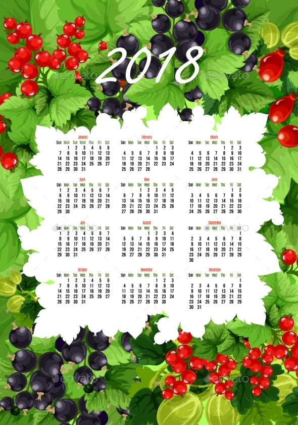 GraphicRiver Vector 2018 Calendar of Fresh Berries and Fruits 20587139