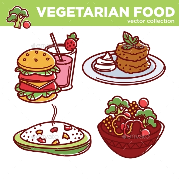 Vegetarian Food Vector Collection of Tasty Meals - Food Objects
