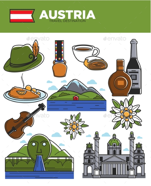 Austria Travel Destination Promotional Poster - Buildings Objects
