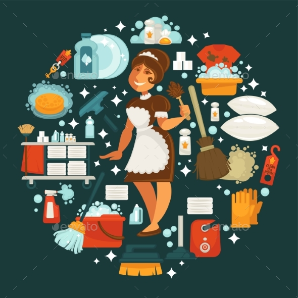 GraphicRiver Maid in Uniform Surrounded with Equipment 20587375