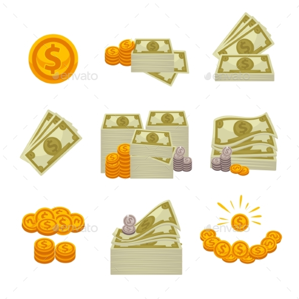 Piles of Paper Dollars, Silver and Gold Coins - Business Conceptual