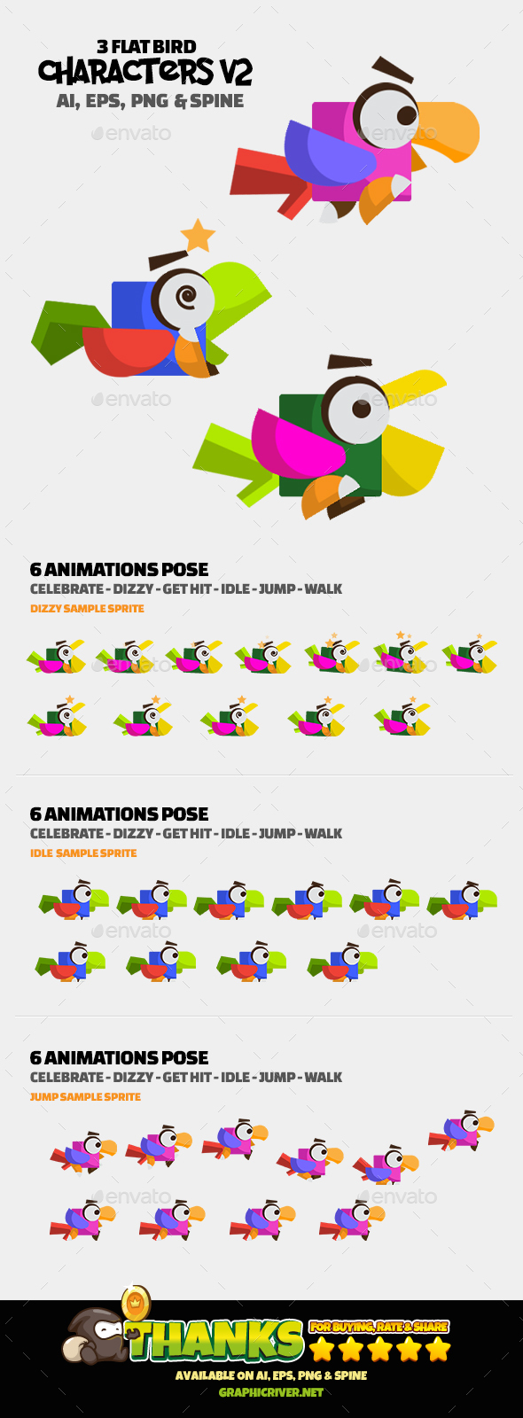 GraphicRiver 3 Flat Bird V2 20587587