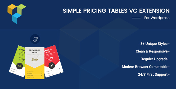 Simple Pricing Tables For Visual Composer - CodeCanyon Item for Sale