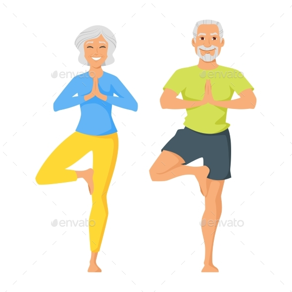 Senior Man and Woman Doing Yoga - Sports/Activity Conceptual