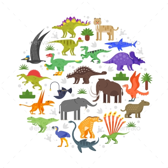 Round Composition of Prehistoric Animals Icons - Animals Characters
