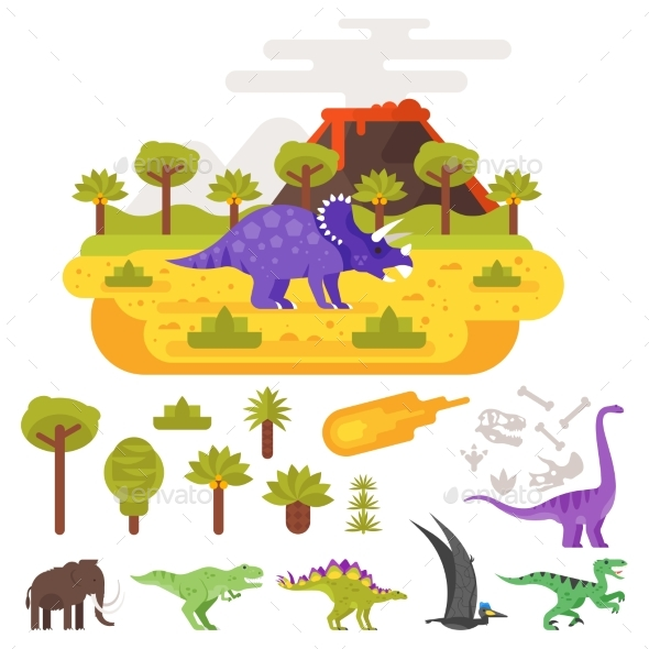 Prehistoric Landscape Mountains and Volcano - Animals Characters