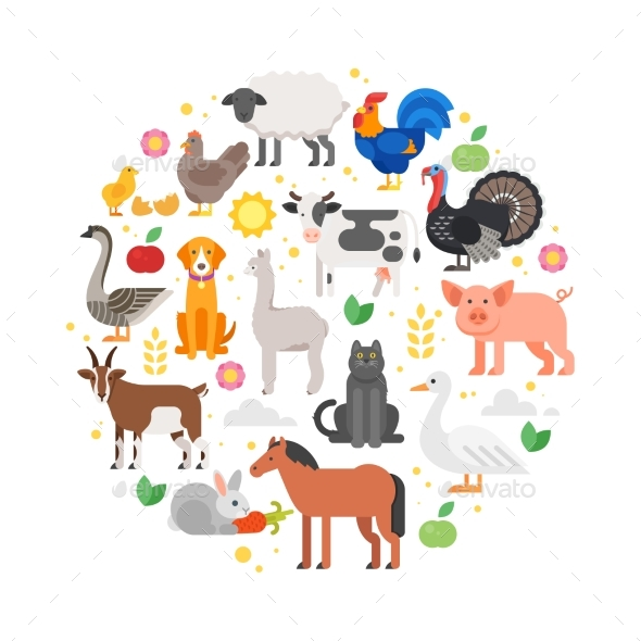 Round Composition of Farm Animals Icons. - Animals Characters