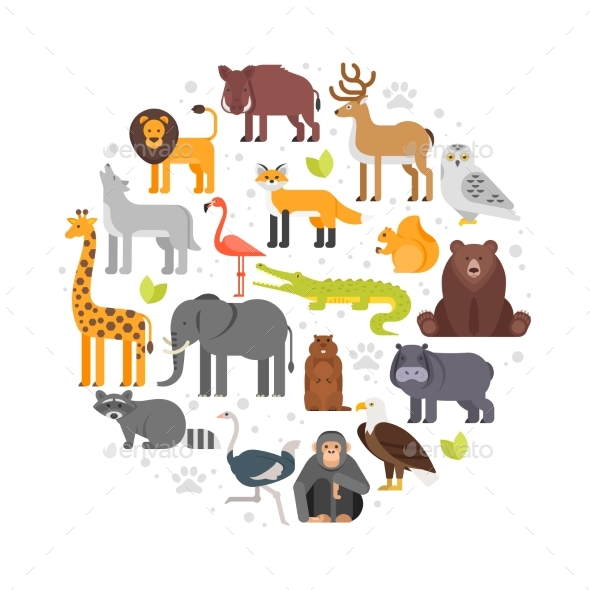 GraphicRiver Round Composition of Zoo Animals Icons 20587837