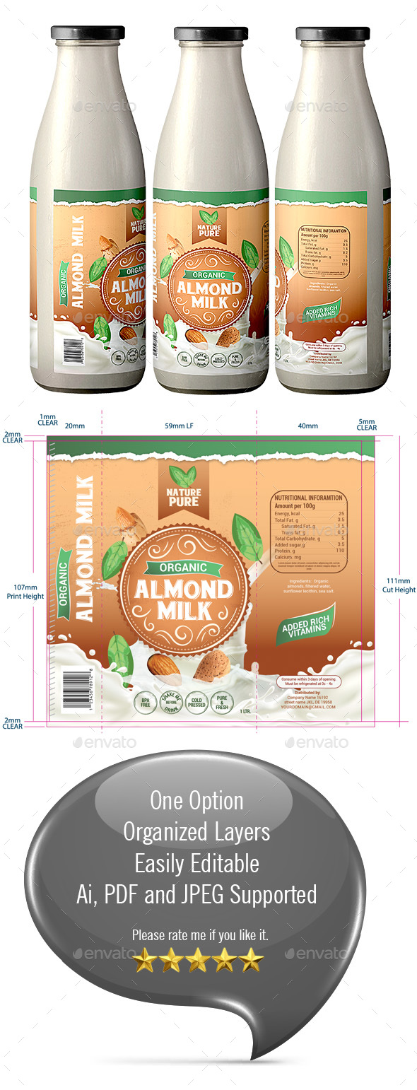 Almond Milk Packaging - Packaging Print Templates