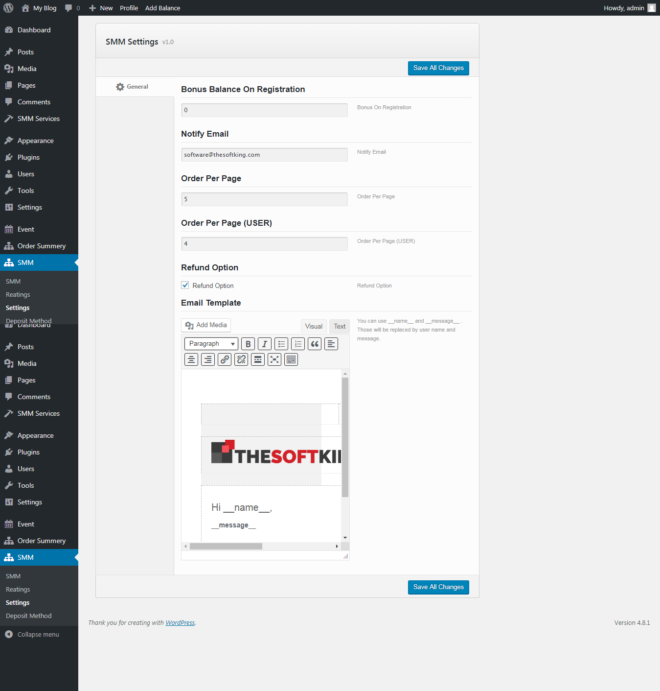 SMM Panel Wordpress Plugin