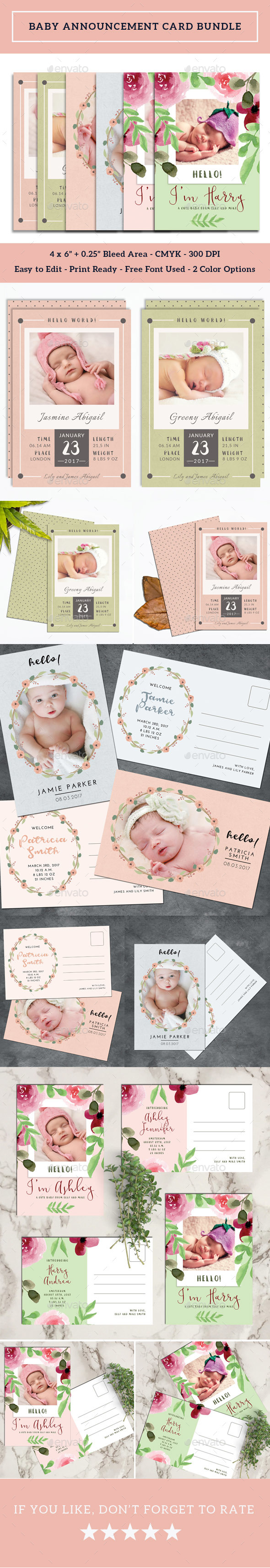 Baby Announcement Card Bundle - Cards & Invites Print Templates