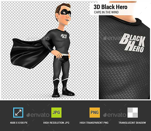 3D Black Hero Standing with Cape in the Wind - Characters 3D Renders