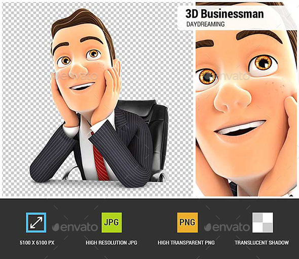 3D Businessman at Office Daydreaming - Characters 3D Renders