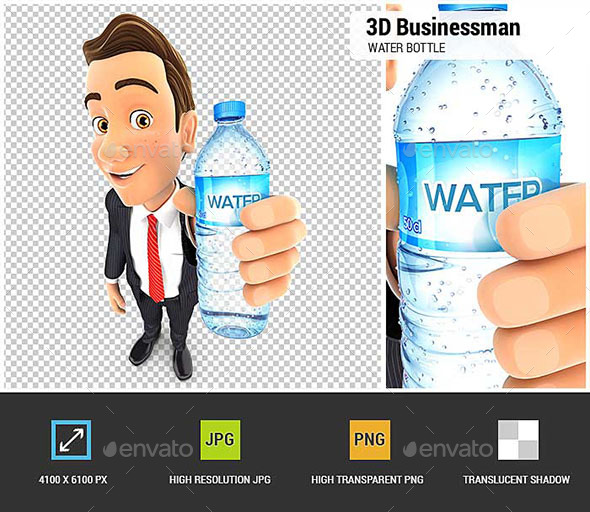 GraphicRiver 3D Businessman Holding Water Bottle 20588105
