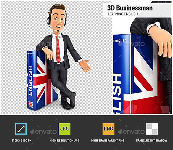 GraphicRiver 3D Businessman Learning English 20588108