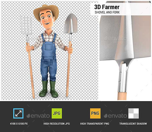 3D Farmer with Shovel and Fork - Characters 3D Renders