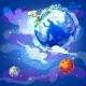 Cartoon Natural Earth Planet Concept