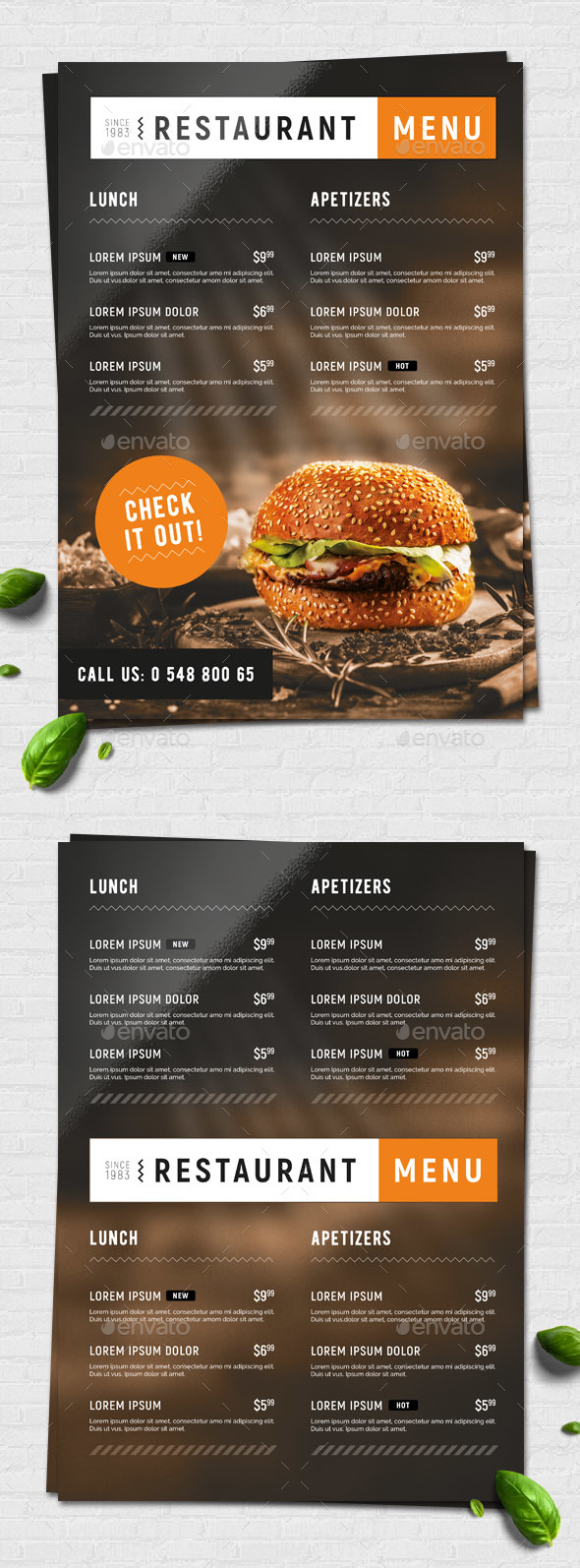 Fast Food / Restaurant Menu - Food Menus Print Templates