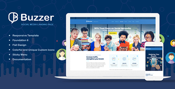ThemeForest Buzzer Responsive Social Media Landing Page 20588458