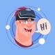 Man Hi Male Emoji Wearing 3d Virtual Glasses