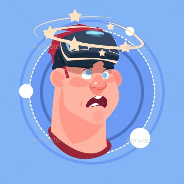 Man Dizzy Male Emoji Wearing 3d Virtual Glasses - People Characters