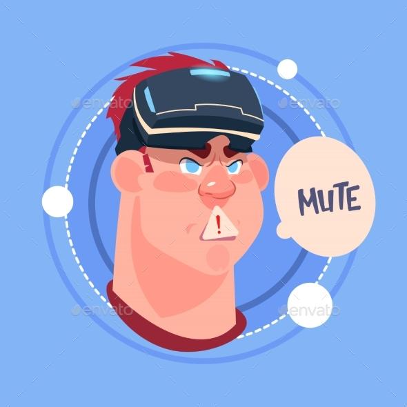 Man Mute Male Emoji Wearing 3d Virtual Glasses - People Characters
