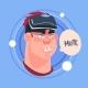 Man Mute Male Emoji Wearing 3d Virtual Glasses