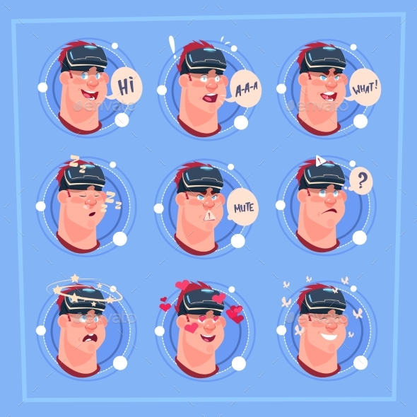 GraphicRiver Man Different Face Male Emoji Wearing 3D Virtual 20588553