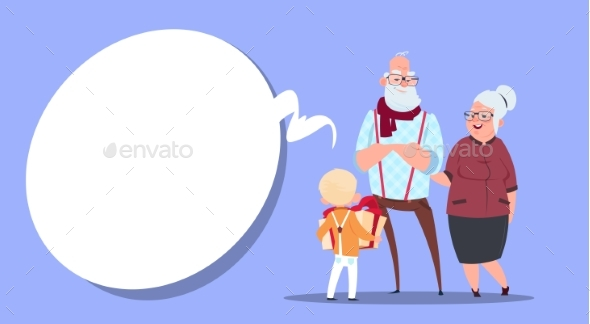 Happy Grandparents with Grandson Giving - People Characters