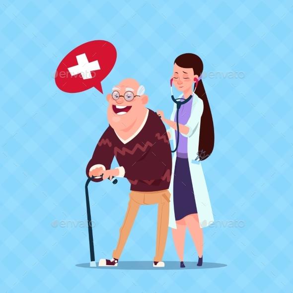 Doctor Taking Care of Senior Man - Health/Medicine Conceptual