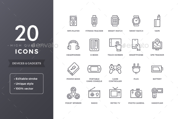 Electronic Devices Line Icons - Technology Icons