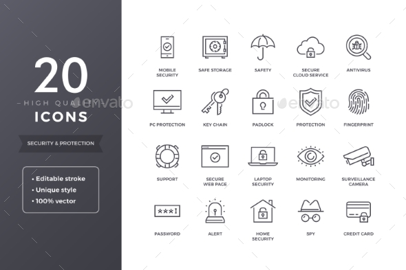 GraphicRiver Security Line Icons 20588839